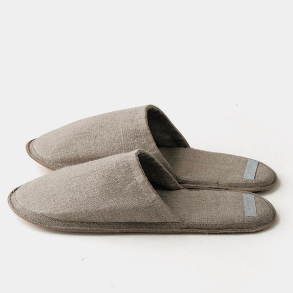 fog linen work natural linen slippers