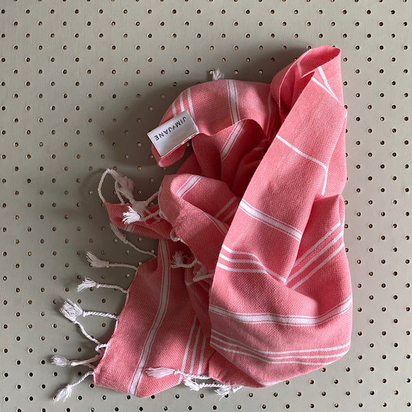 classic turkish cotton handloomed hand towel in berry pink
