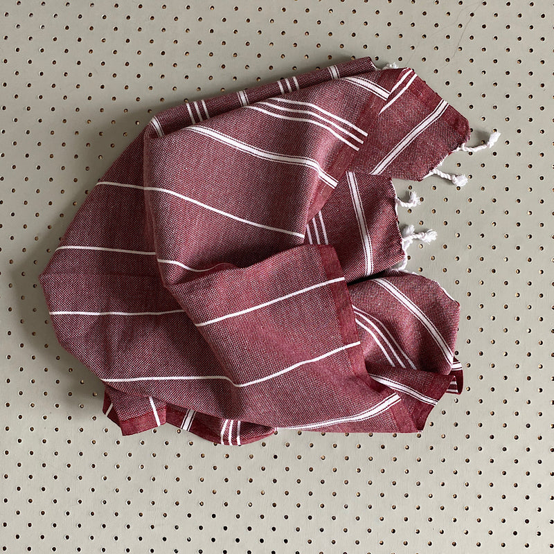 shiraz red burgundy turkish cotton hand towel