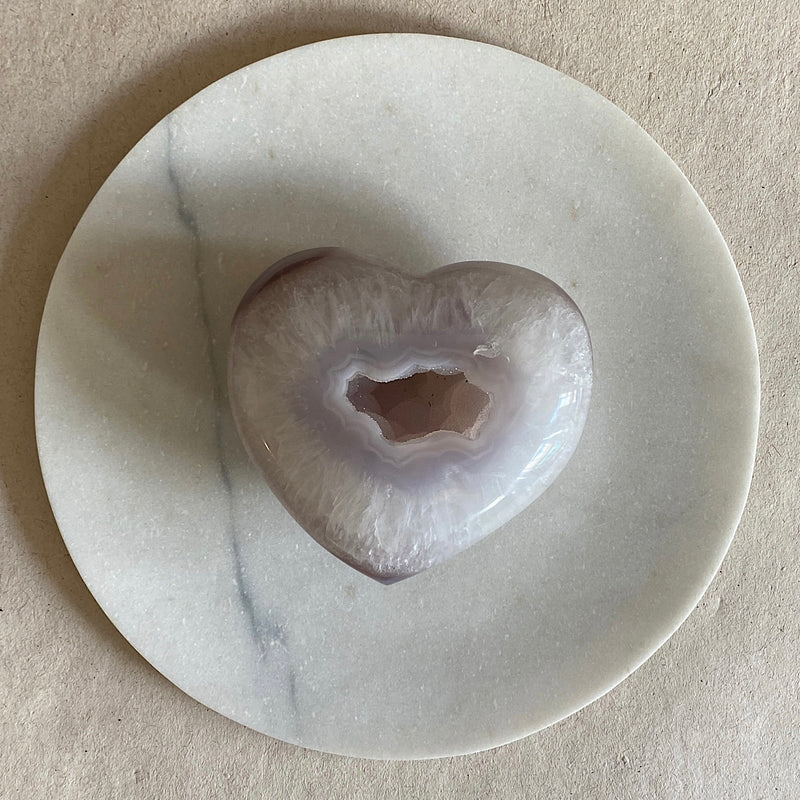 hand carved agate druzy crystal heart from brazil