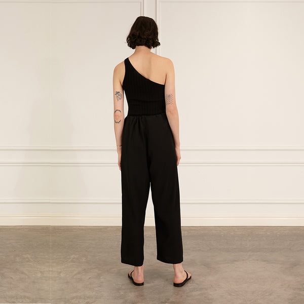 marle black silk drawstring martine trouser pants