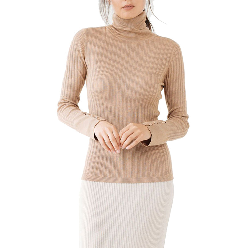 the remi ribbed cotton cashmere turtleneck sweater from marle  in camel new zealand