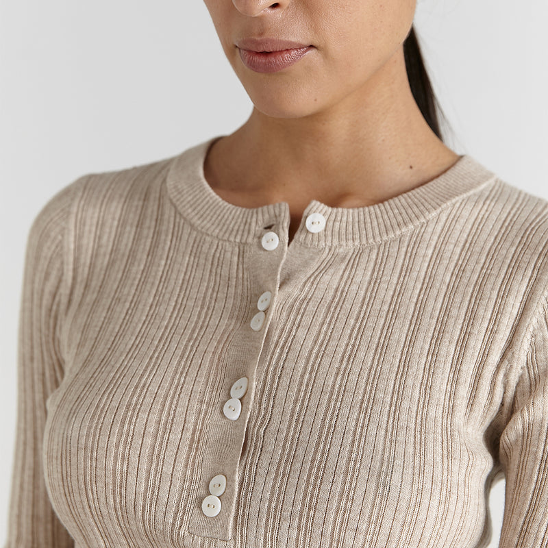 marle clothing sofia merino wool supima cotton long sleeve top in oat