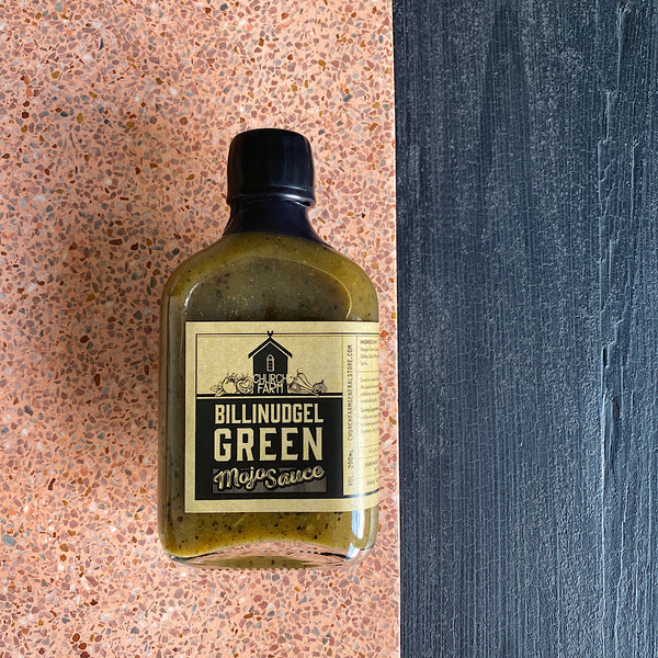 bilinudgel green mojo sauce by church farm general store