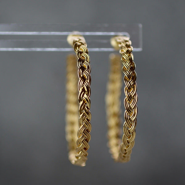 rebecca woven gold hoop earrings by jim and jane sydney