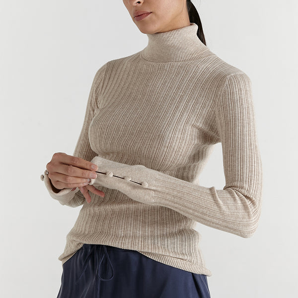 marle clothing new zealand remi turtleneck knit in oat
