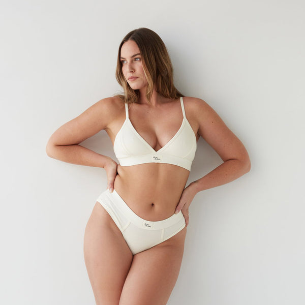 dear dylan luxury intimates ribbed cotton triangle bra bralette in french vanilla