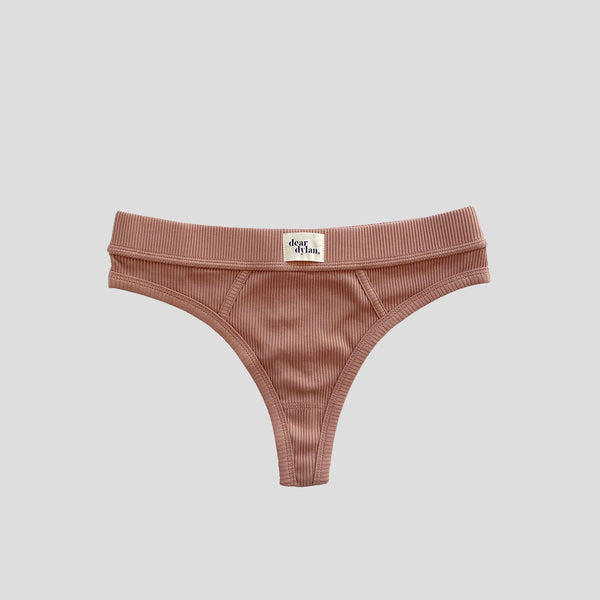 dear dylan intimates luxury cotton underwear ribbed thong in cameo brown