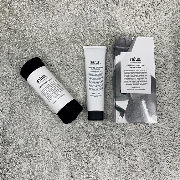 Salus Charcoal Masque and face cloth set