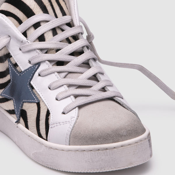 zoe kratzmann thrive sneaker leather hi-top with zebra print pony hair finish