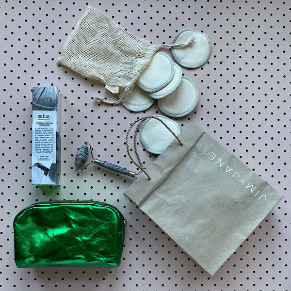 Washable Paper Cosmetic Bag | Green Metallic