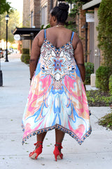 Curvy Print Handkerchief Dress