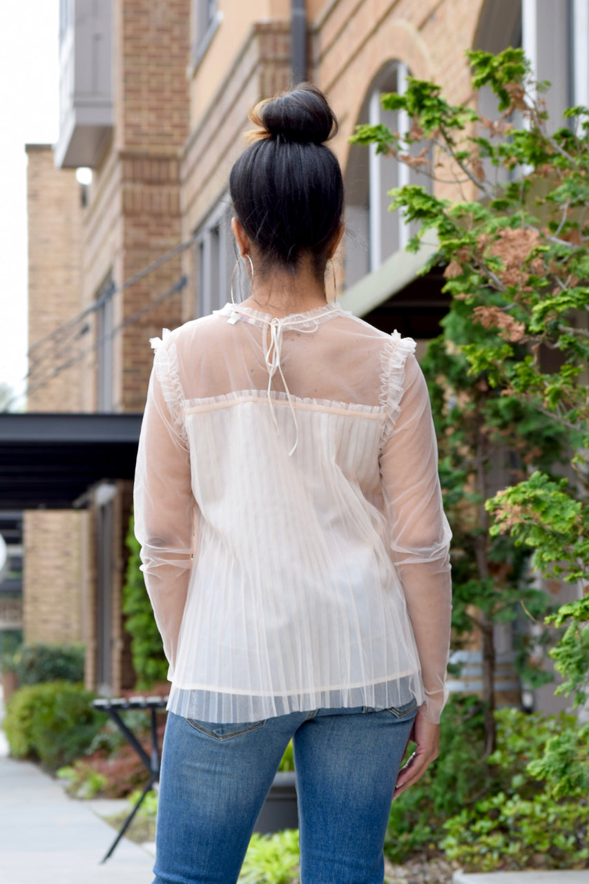 Pleat Mesh Top