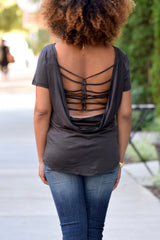 Strappy Back Tee-Black