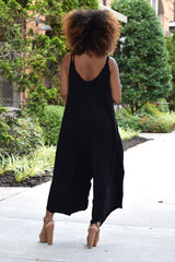 Cropped Palazzo Jumpsuit- Black
