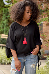 Black Side Drawstring Dolman Top