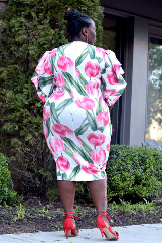 Curvy Floral Bell Sleeve Midi Dress