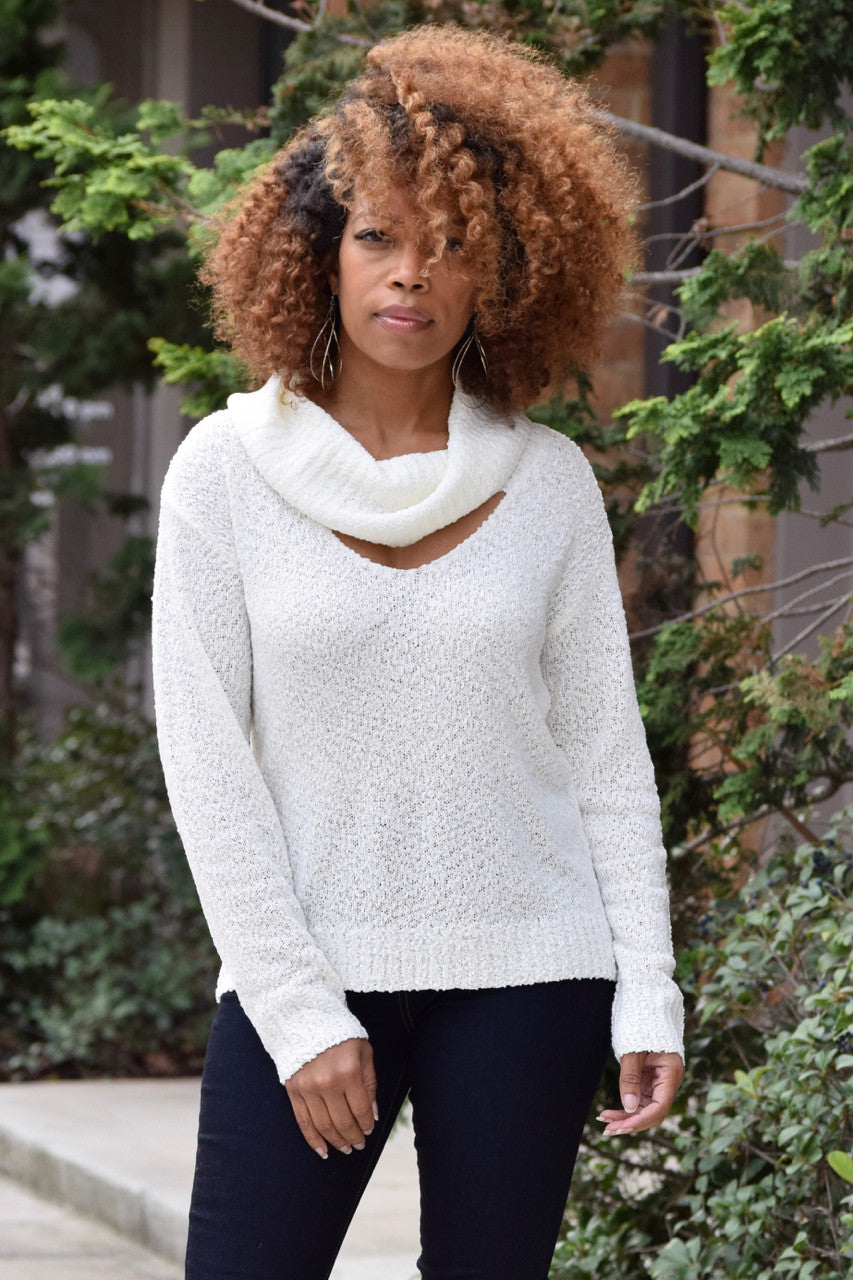 Ivory Cowlneck Cut Out Sweater
