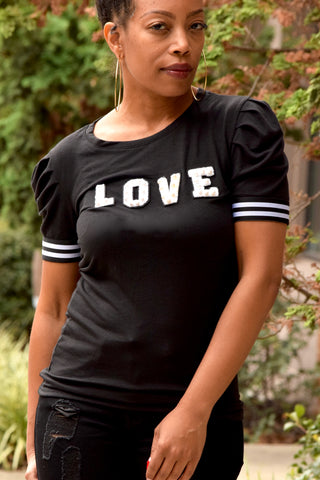 Pearl Love Puffy Sleeve T Shirt