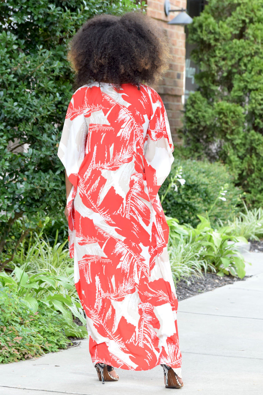 Hi Low Leaf Kaftan-Red
