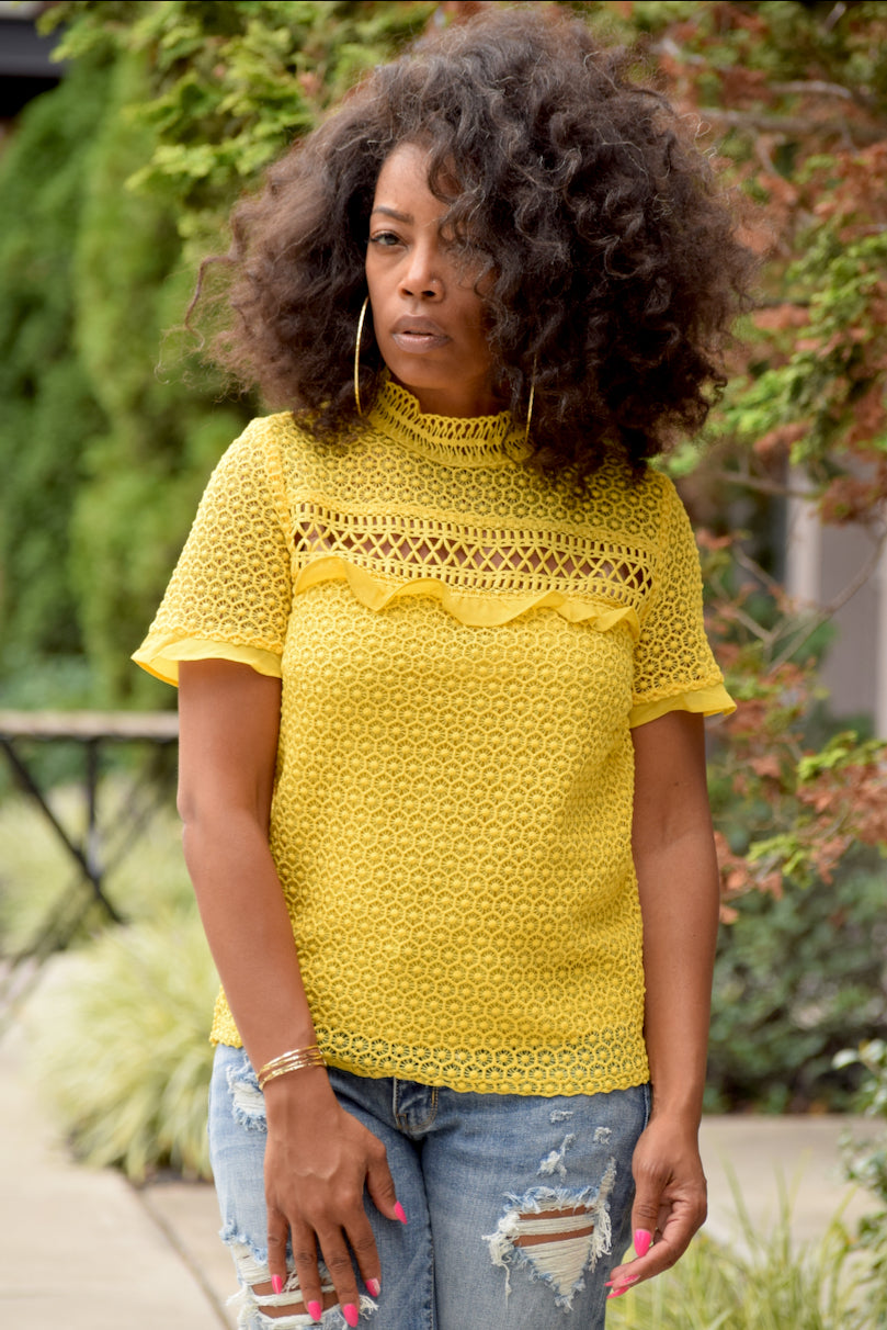 Yellow Embroidered Lace Top