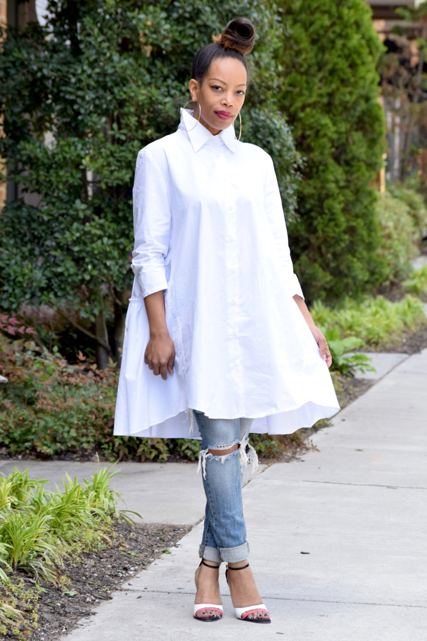 Ruffle Back Shirt Dress