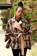 Plaid Colorblock Waist Tie Cape Jacket