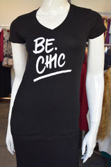 Be Chic Black V-neck Tee with white letters