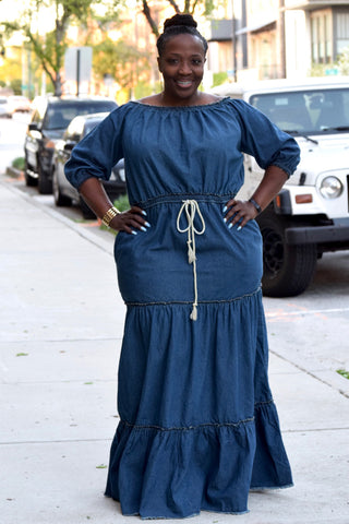 Curvy Denim Maxi Dress