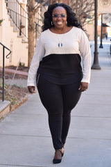 Curvy Colorblock Overlay Blouse