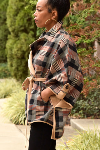 Plaid Waist Tie Cape Jacket