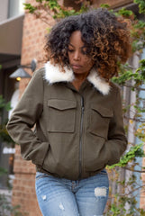 Fur Collar Bomber Jacket