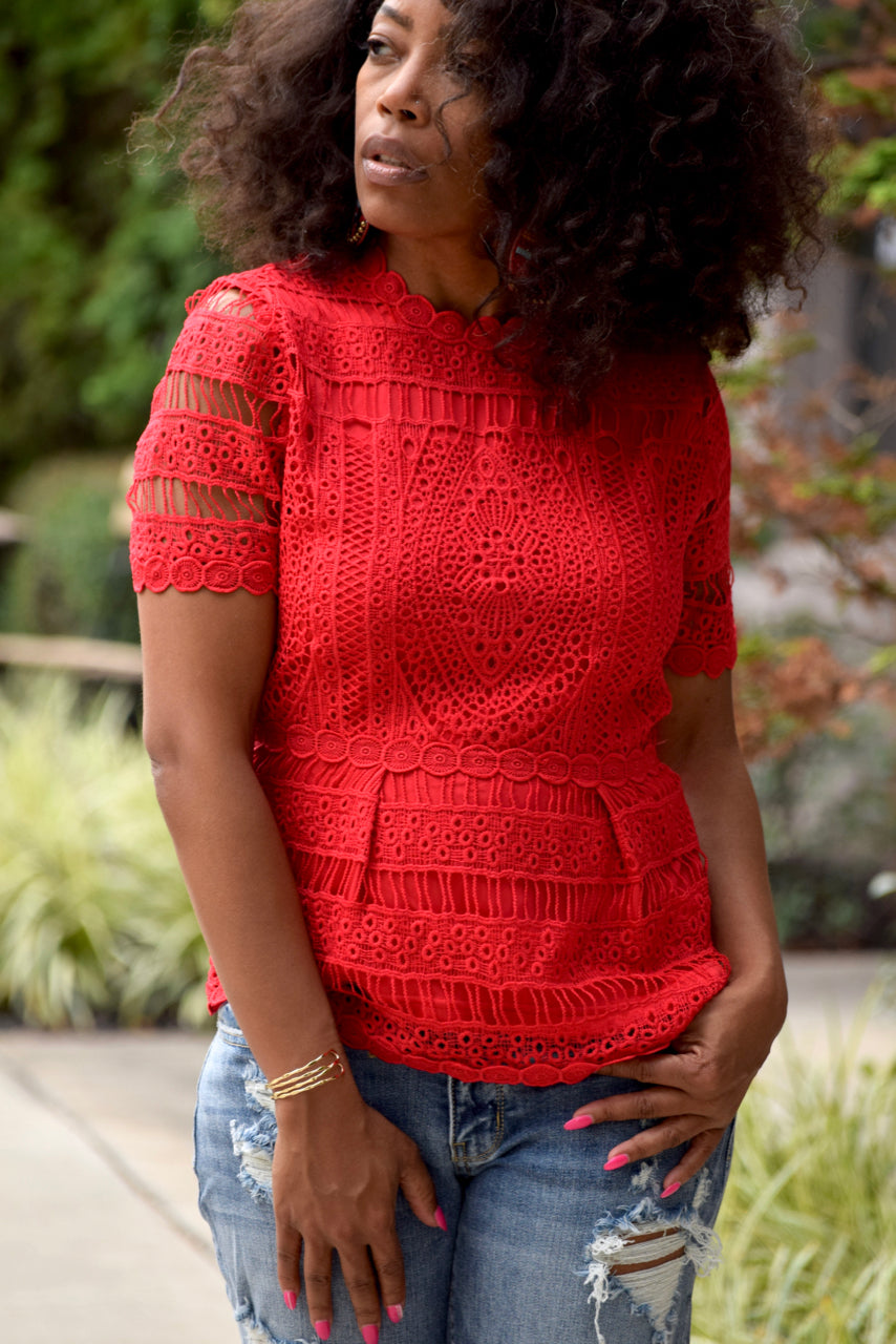 Red Lace Overlay Scalloped Top