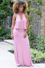 Cut Out Flounce Maxi Dress