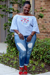 Curvy Pinstripe Floral Off Shoulder Top