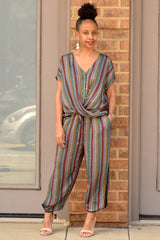 Metallic Stripe Jeanie Jogger Pants
