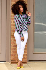 Stripe Tie Neck top