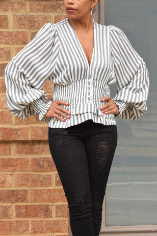 Stripe Balloon Sleeve Top