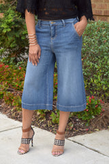 pink sky boutique denim culottes