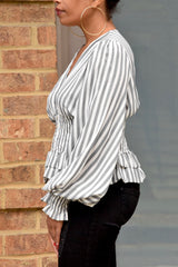 Grey and White Stripe Balloon Sleeve Top