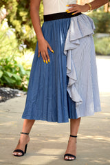Blue Denim and Pinstripe Pleat Skirt