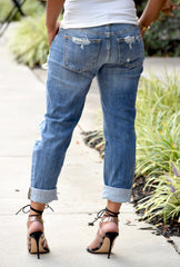 Cuffed Distressed Boyfriend Jeans