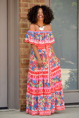 Spanish Floral Off the Shoulder Maxi