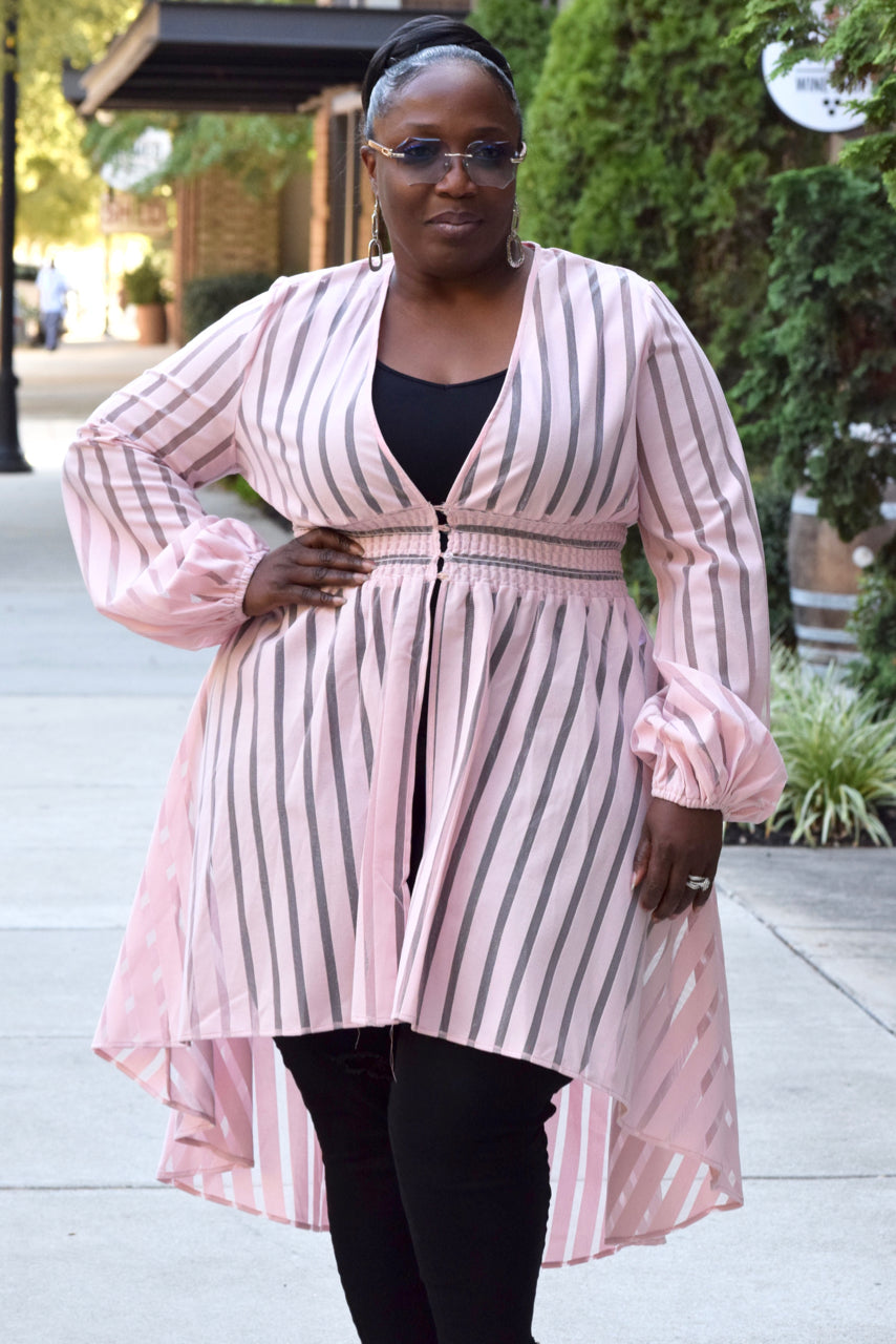 Curvy Sheer Stripe Hi Low Top -Pink