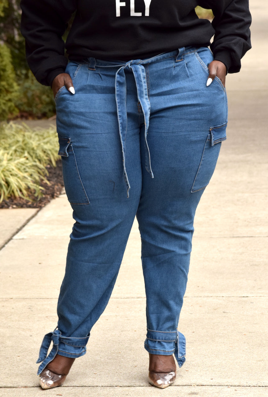 Plus Size Ankle Tie Denim Cargo Pant