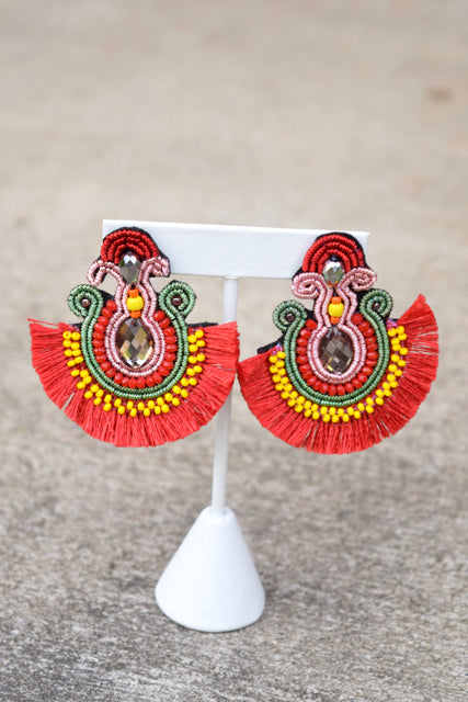 Festive Tassel Fan Earrings- Red