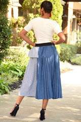 Denim and Pinstripe Pleat Skirt