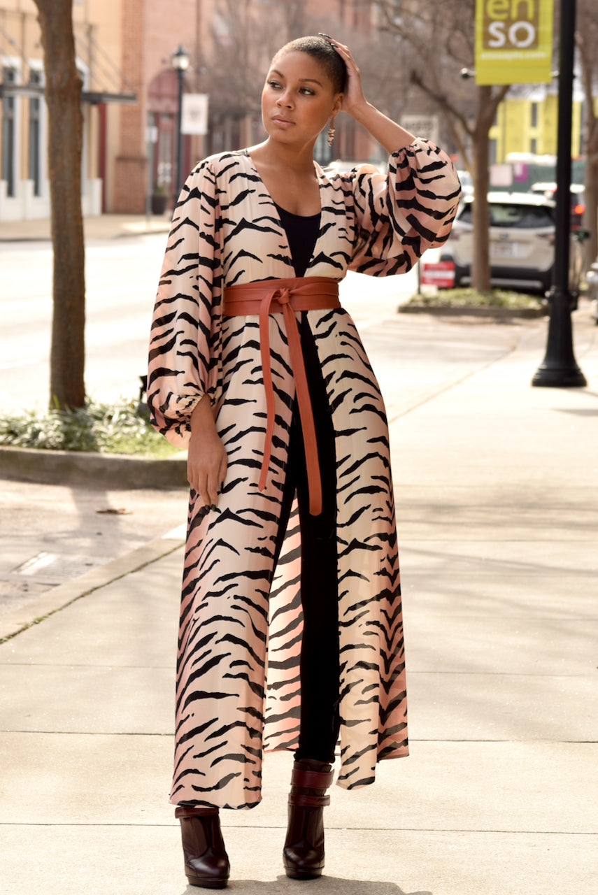Tiger Stripe Bubble Sleeve Duster