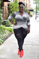 Curvy Stripe Wrap Top