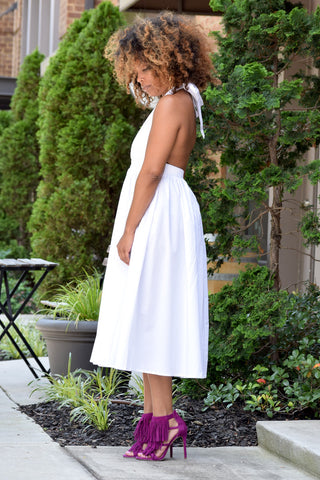 Backless Halter Midi Dress